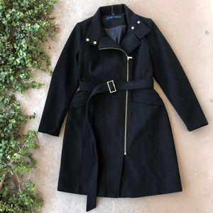 Cole Haan Black Wool Long Pea Trench Coat